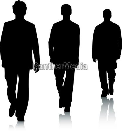 silhouetten von fashion maennern