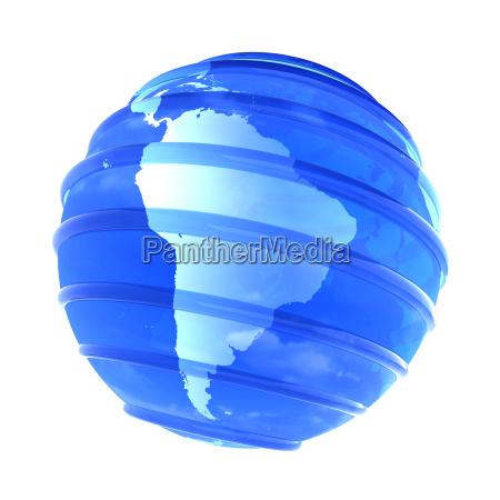 3d glassy earth globe focused in