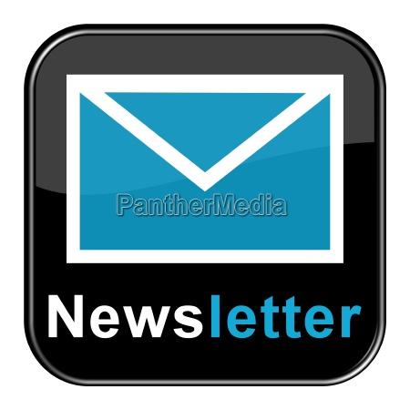 button mit blauem briefsymbol newsletter abonnieren