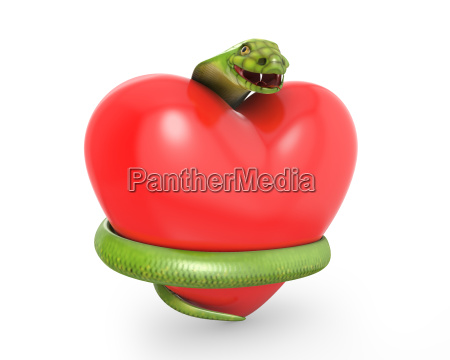 green cobra on a red heart