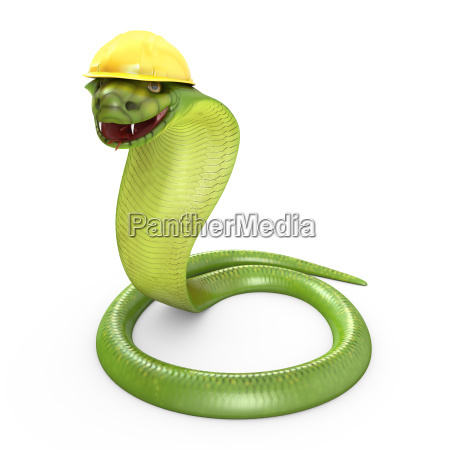 green cobra bent in a yellow