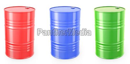 three single red barrels red green