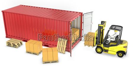 yellow fork lift truck unloads red