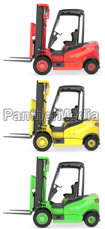 three fork lift trucks colored as