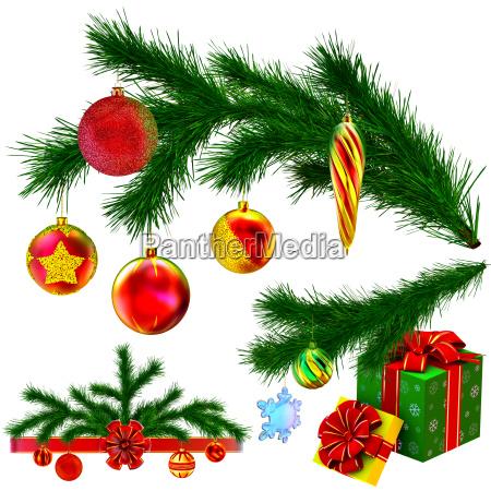 satz von weihnachtsbaum tannenzweige