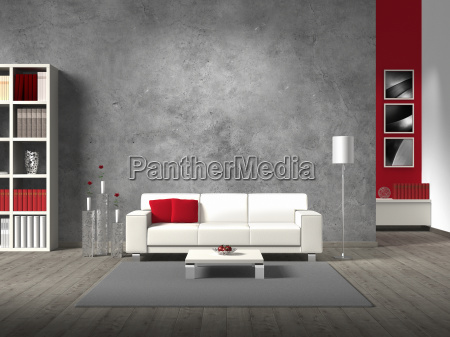 modernes wohnzimmer mit sofa und freiraum