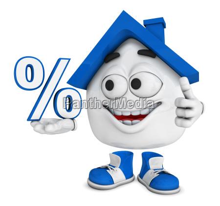 small 3d house blue percent
