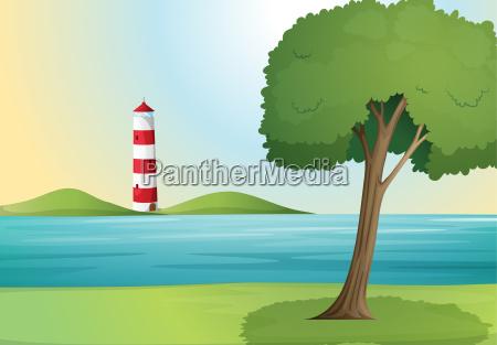 an ocean and a light house