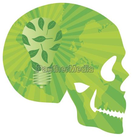 schaedel denken gruen mit gluehbirne illustration