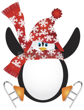 pinguin mit sankt hut eislauf illustration