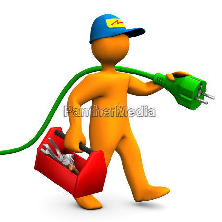electrician with toolbox and connector