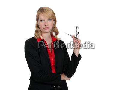 seductive blond office worker