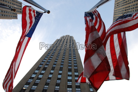 rockefeller, centre, manhattan, usa, flag, new - 8182216