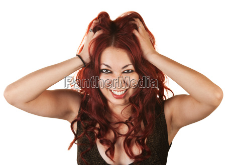 emotional woman pulling her hair