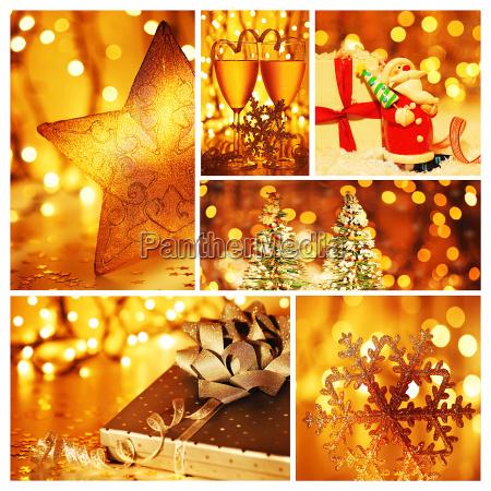 goldene collage aus weihnachtsdekorationen