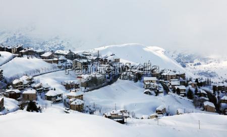 winter mountain village landscape