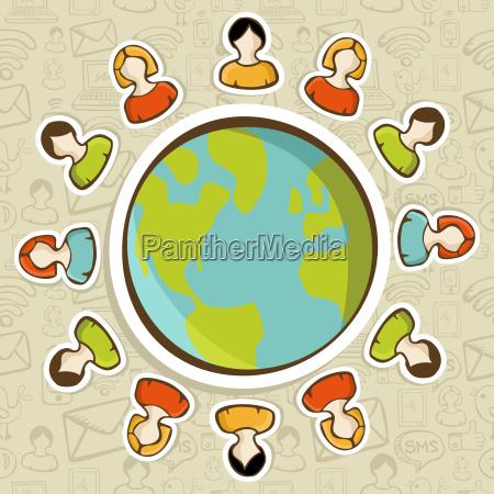 social media teamwork world concept