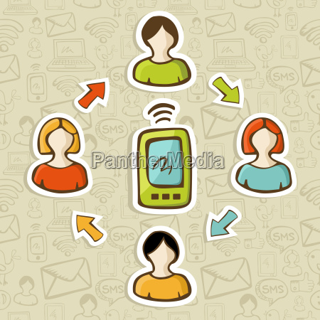 mobile web marketing concept over pattern