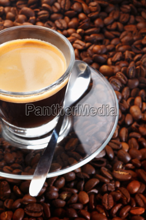 black coffee on background of coffee