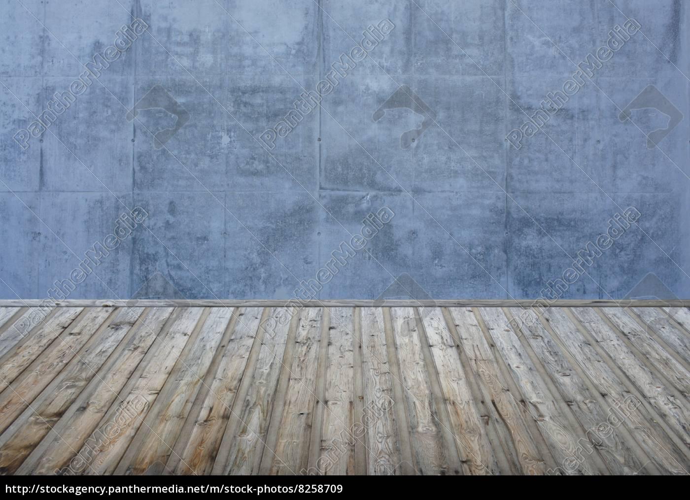 Leerer Raum - Steinwand blau-grau und Holzboden - Stockfoto ...