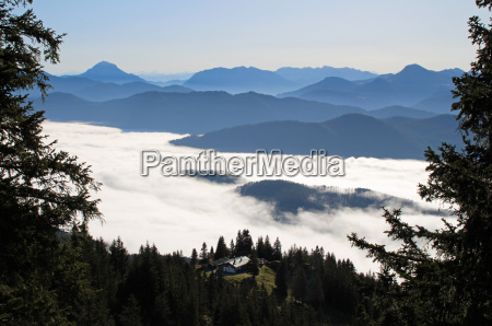 mountains bavaria evening tendency sight view