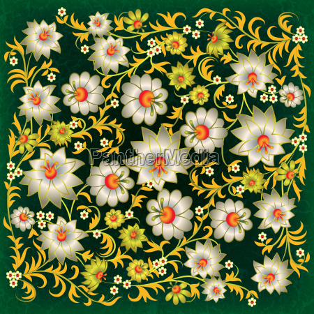 abstract grunge floral ornament with white