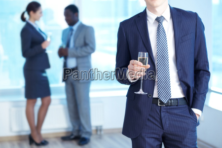 businessman with champagne