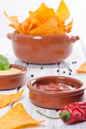 tortilla with two dips chips