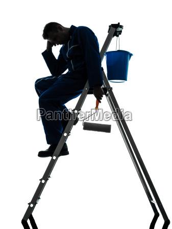 mann haus maler arbeiter silhouette