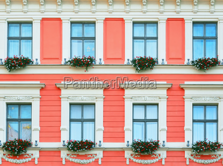 facade with flowers
