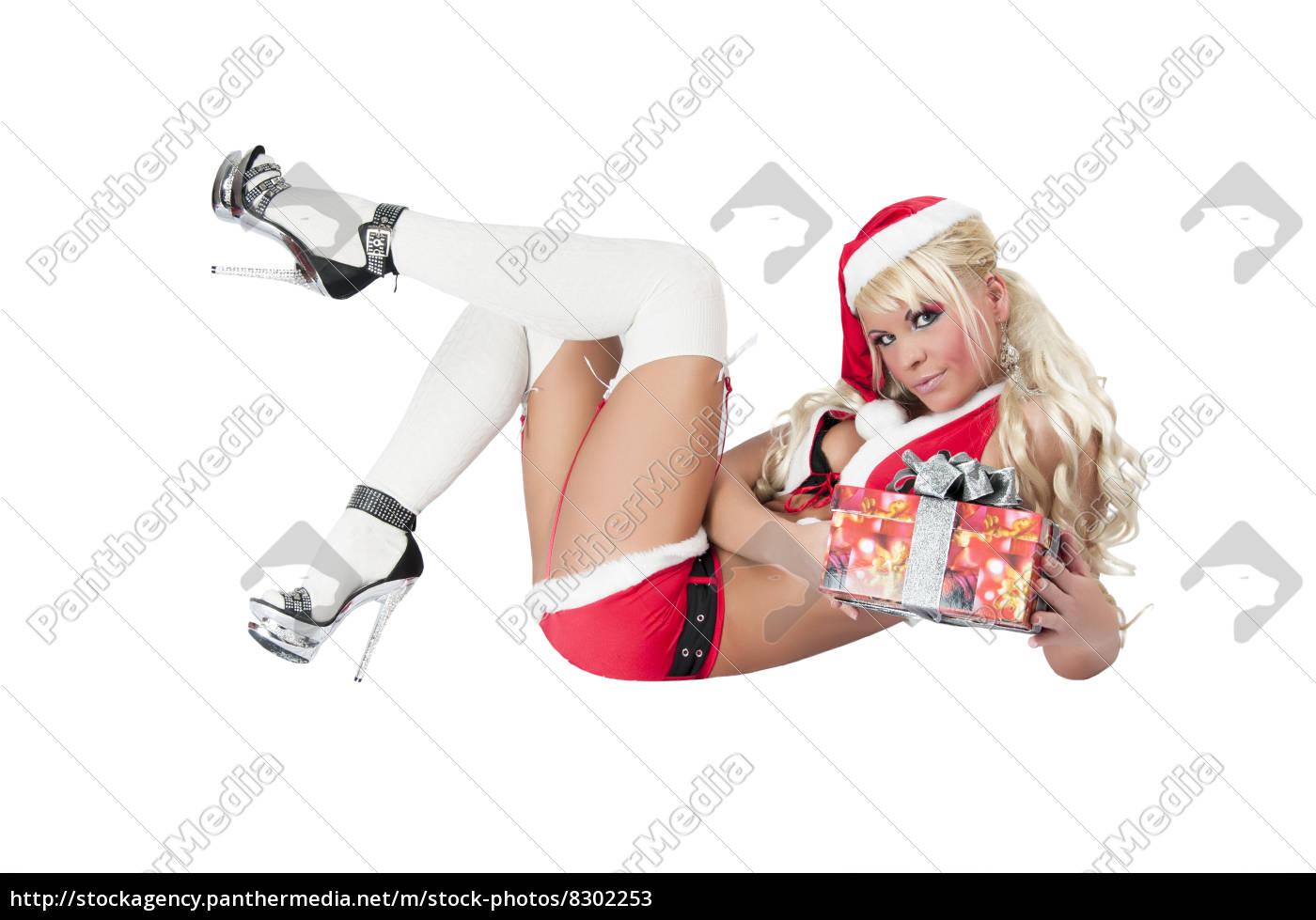sexy, frau, als, weihnachtsfrau, mit, high - 8302253