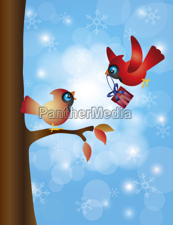 cardinal pair with tree and snowflakes
