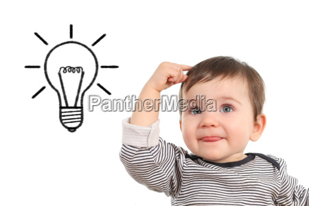baby thinking an idea with a
