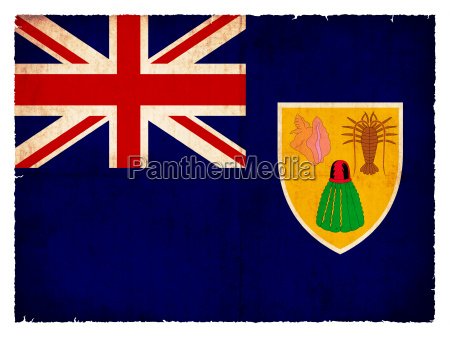 grunge flagge turks und caicosinseln britisches