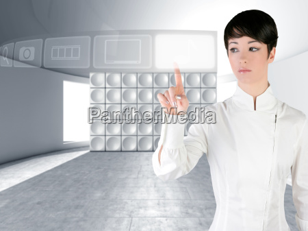 futuristische frau beruehren finger exemplar