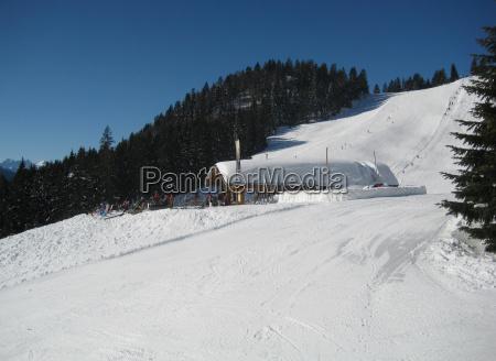 winter bavaria background of mountains snow