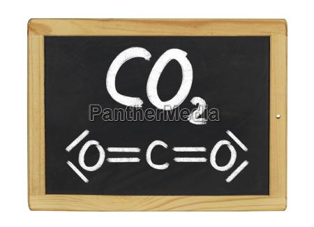 chemische strukturformel von kohlenstoffdioxid auf einer