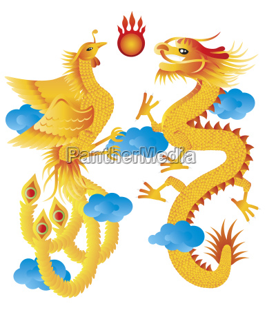 dragon and phoenix with clouds illustration