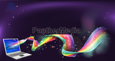 laptop rainbow background