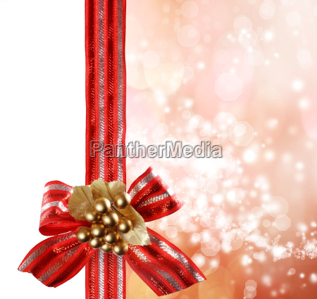 red bow and ribbon with bokeh