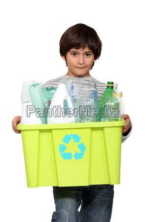 kid holding recycling tub full of