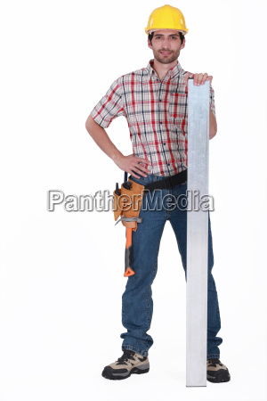 a carpenter with a plank