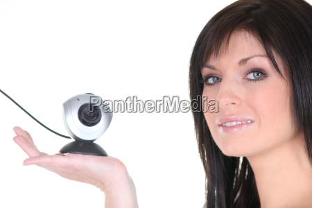 frau, mit, webcam - 8359823