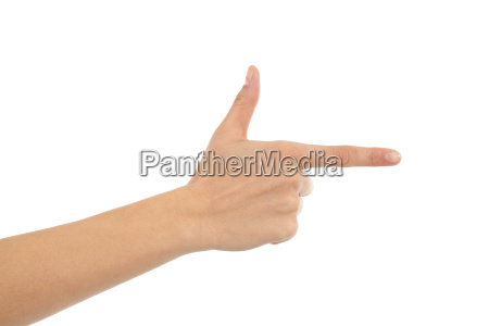 woman hand showing forefinger in gun