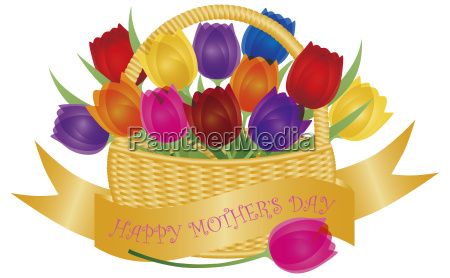 mothers day basket with colorful tulips