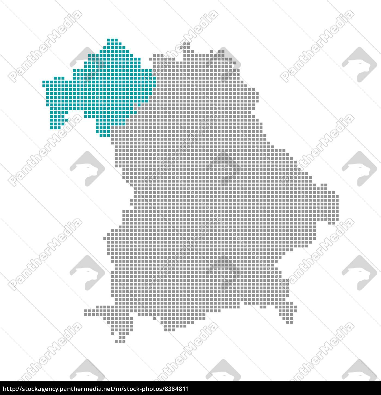 Unterfranken Karte.Stockfoto 8384811 Pixelkarte Bezirke Bayern Unterfranken