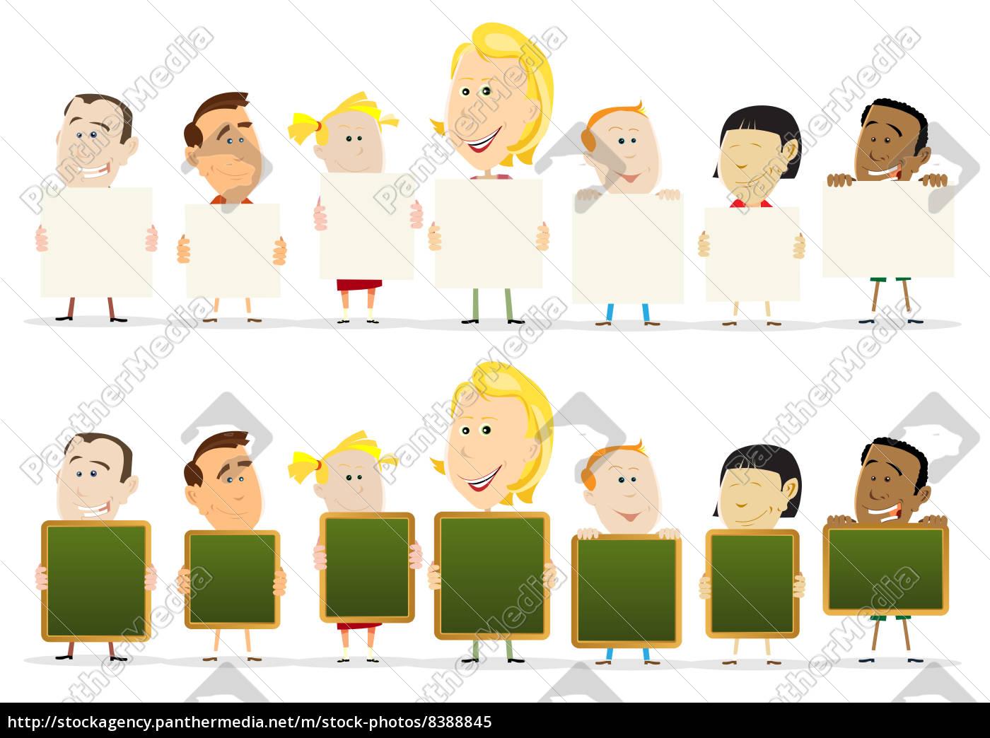 lehrer, frau, mit, kindern, klassenzimmer, holding-zeichen - 8388845