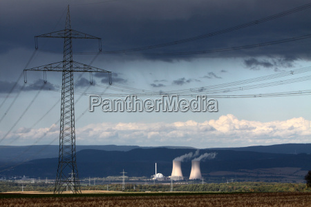 storm clouds over grohnde nuclear power