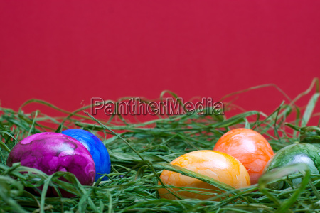 red easter background with eggs