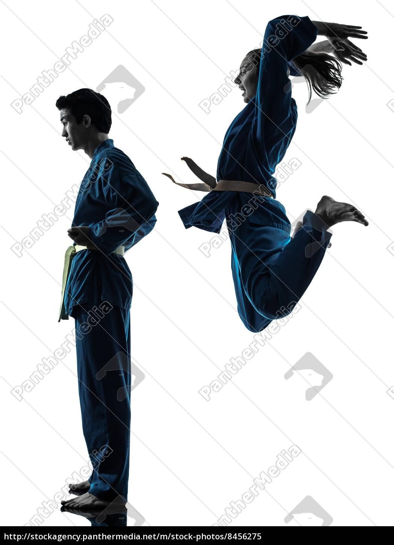 karate, vietvodao, kampf, silhouette, kunst, mann - 8456275